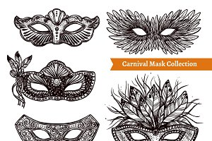 Carnival masks hand drawn set