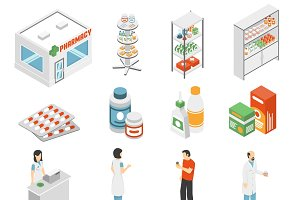 Pharmacy concept isometric icons set