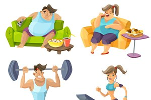 Obesity and health cartoon set