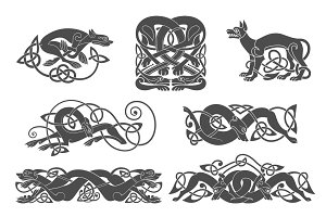 Set of celtic symbols of dogs