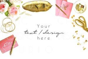 Pink & Gold Styled Desktop Image