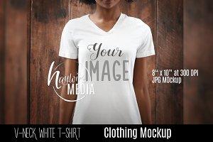 African Amercian WhiteT-Shirt Mockup