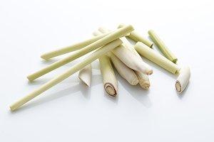 fresh Lemongrass with slice white background