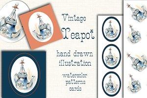 Vintage teapot illustration