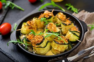 Baked zucchini rolls with cheese