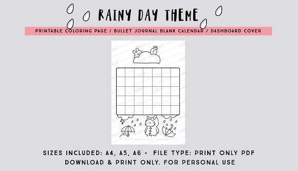 Rainy Day Calendar Print Only PDF