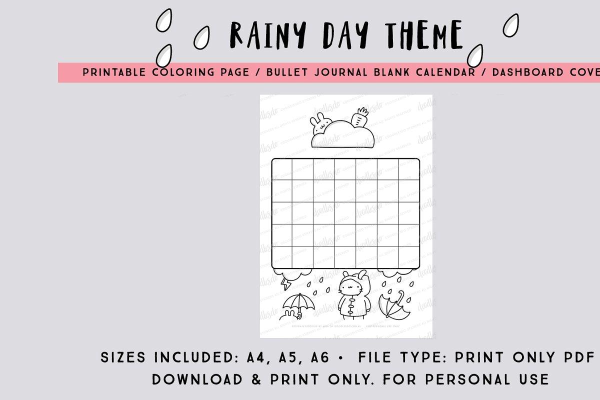 Rainy Day Calendar Print only PDF