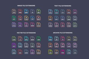 File extension flat icons pack