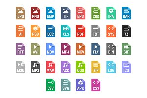 Flat file types icons set