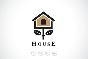 BirdHouse Tree Logo Template