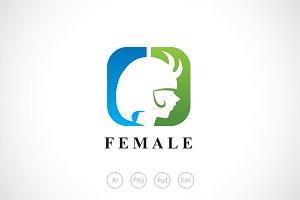Devil Girl Horns Logo Template
