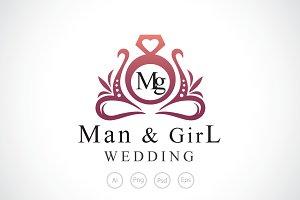 Man & Girl Wedding Logo Template