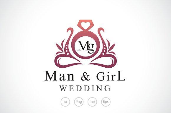 Man Girl Wedding Logo Template