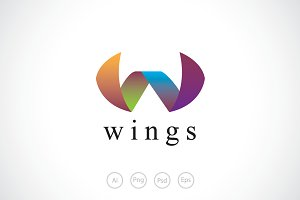 Ribbon Wing Logo Template