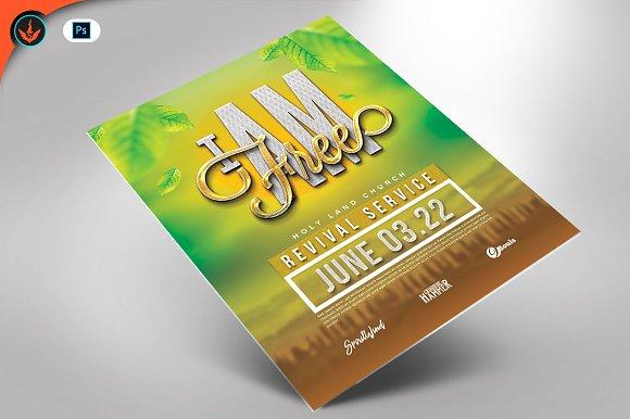 i am free church flyer template flyer templates creative market