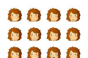 Young woman emoticon set
