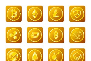 Crypto currency golden signs set