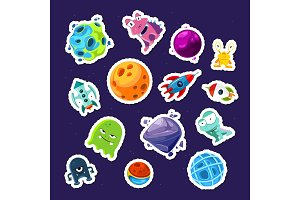 Vector cartoon space planets and ships stickers set