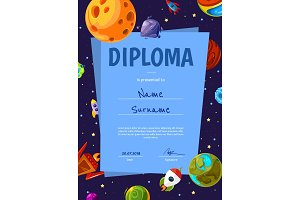 Vector certificate template with with cartoon space planets and ships