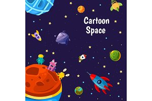 Vector with cartoon space planets and ships