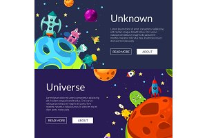 Vector horizontal web banners illustration with cartoon space planets and ships