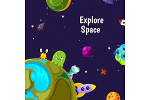Vector background with cartoon space planets and ships