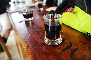 Shots in Spanish cafe in Spain