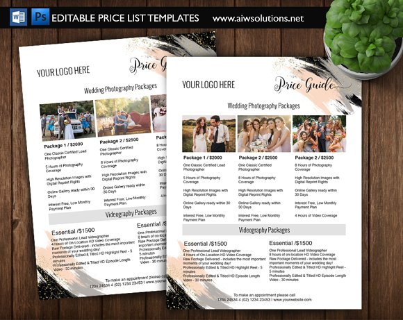 Photography Price List Template Id06
