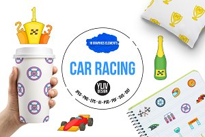 Car racing icons set, cartoon style