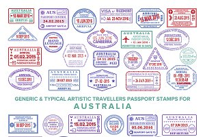 Australia visa passport stamps set