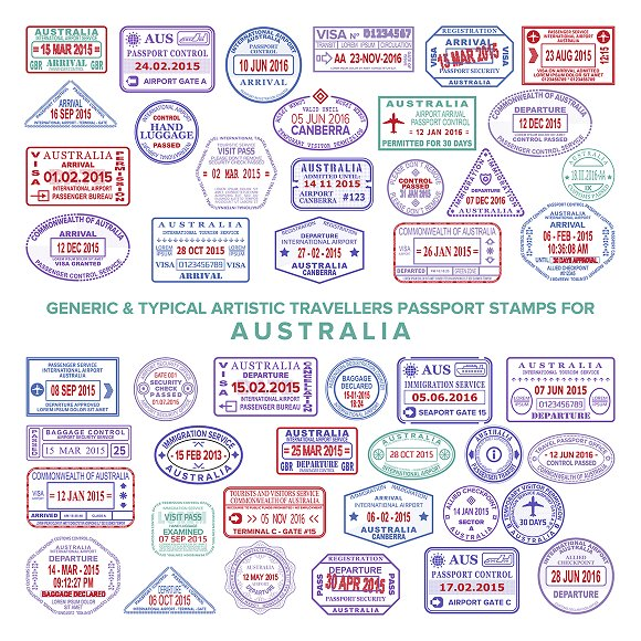 Australia Visa Passport Stamps Set Graphic Objects Creative Market