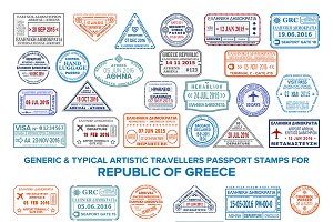 Greece visa passport stamps set