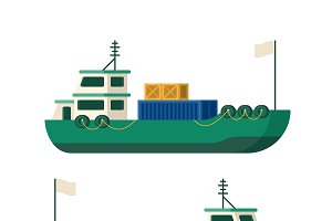 Sea cargo ship in flat style