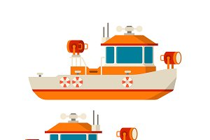 Lifeboat, guardian boat flat style
