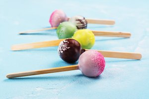 Various colorful cake pops