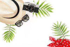 Palm leaves sunglasses photo camera
