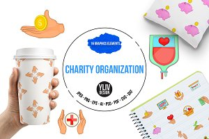 Charity organization icons set, cart