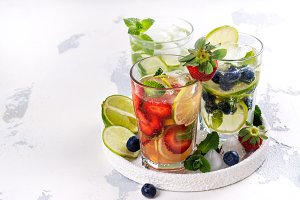 Summer homemade fruit and berries lemonade