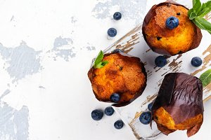 Vegan banana oatmeal muffins with blueberry