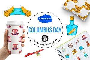 Columbus Day icons set, cartoon