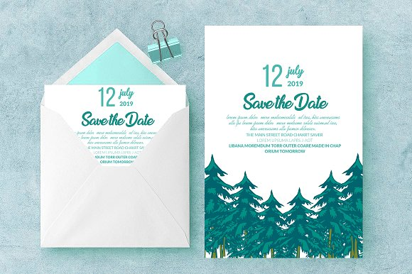 Green Save The Date Card Invite Temp