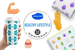 Healthy lifestyle icons set, cartoon