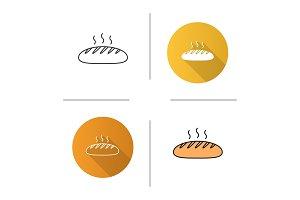 Fresh bread loaf icon