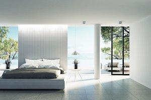 Beach bedroom interior - 3D