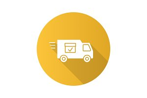Delivery van with checkmark flat design long shadow glyph icon