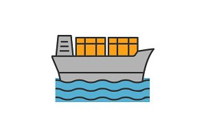Cargo ship color icon