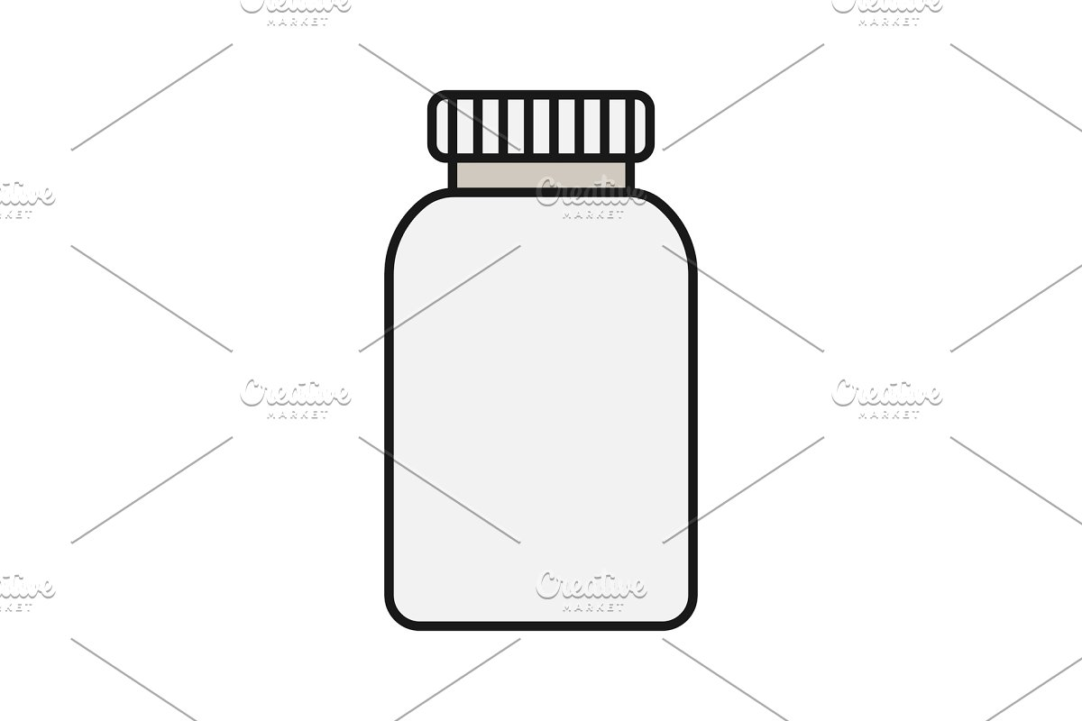 Prescription pills bottle color icon in Graphics - product preview 8