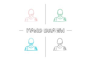 Tattoo artist hand drawn icons set