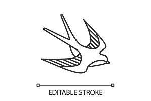 Swallow bird linear icon