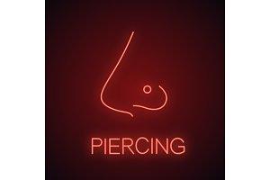 Pierced nose neon light icon